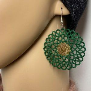 Ohrringe Rosalie grün mit Inlay im Detail