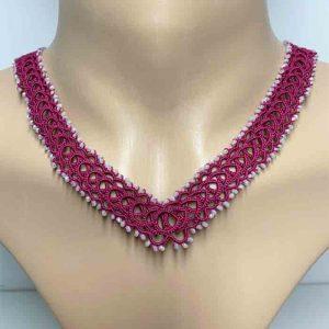 Halskette charlene in fuchsia weiss