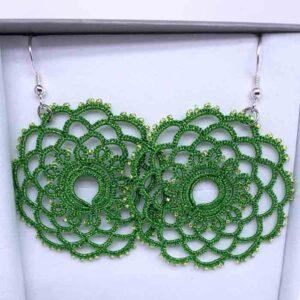 Ohrringe Mandala in metallic grün